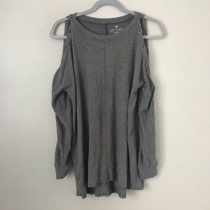 AEO Soft & Sexy Plush cold shoulder lace up blouse